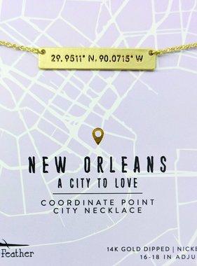 Jewelry, Necklace, NOLA City Coordinates, Gold