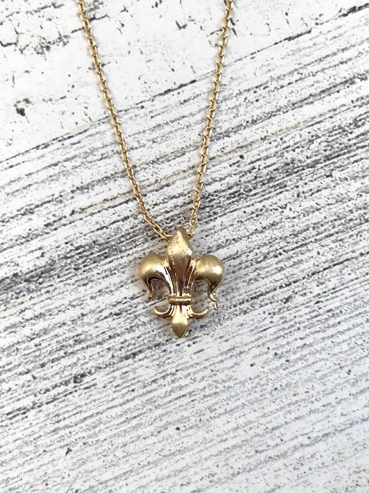 Tiny Fleur de Lis Necklace in Gold