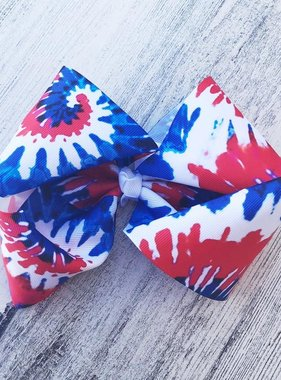 Red White Blue Tie Dye Hair Bow