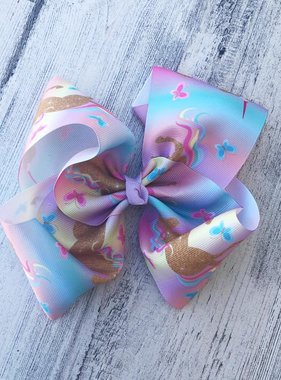 Unicorn and Butterflies Hair Bow