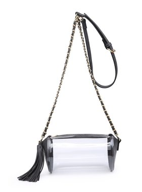 Clear Cylinder Game Day Purse with Tassel