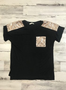 Black Top with Glitter Pocket