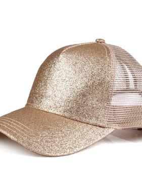 Gold Glitter Pony Cap