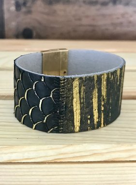 Black and Gold Scalloped Bracelet
