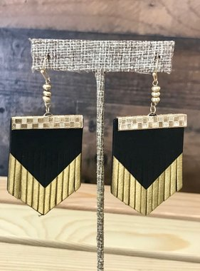 Black & Gold Leather Fringe Earrings