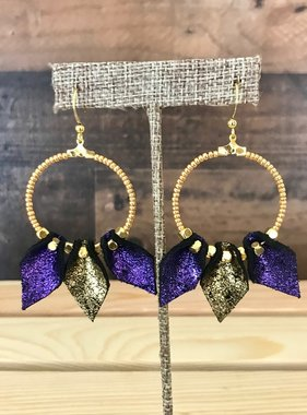 Purple & Gold Leather Teardrop Hoops