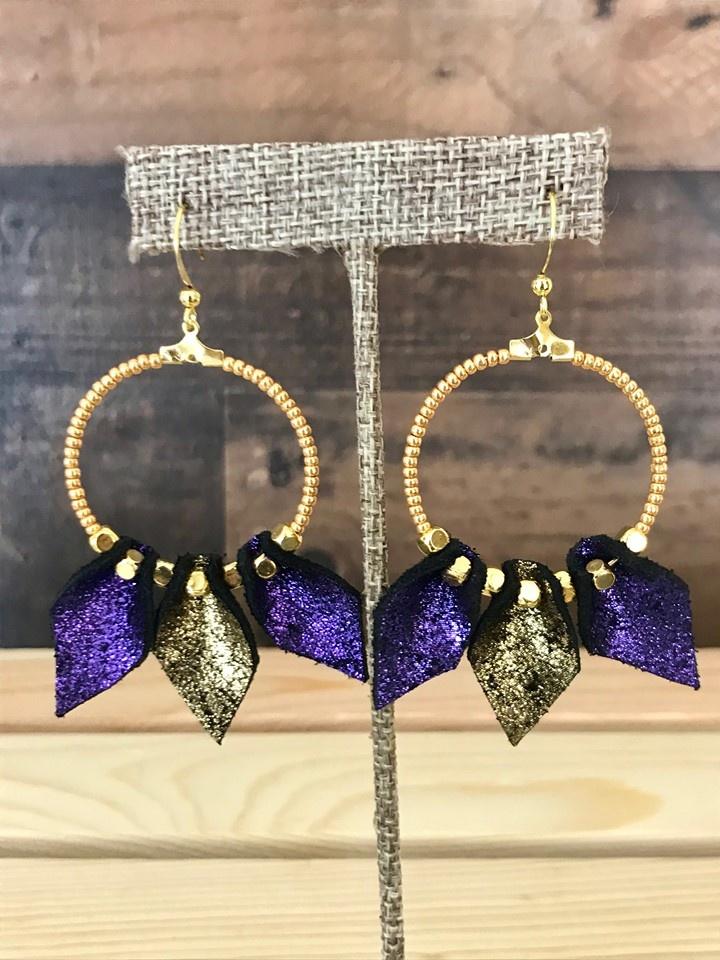 Purple & Gold Leather Teardrop Hoops
