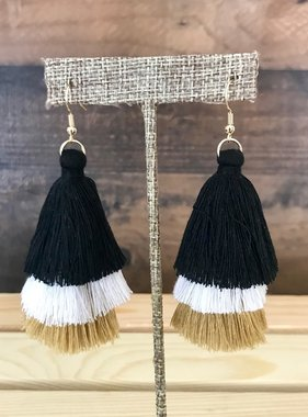 Black & Gold Triple Tassel Earrings