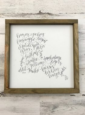 Louisiana Calligraphy Wall Art