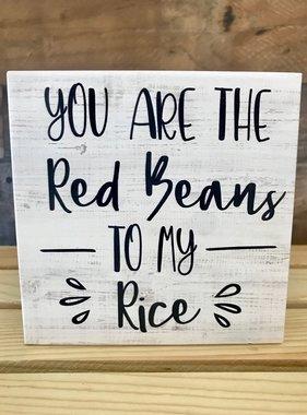 Red Beans Rice Shelf Sitter, Black & White