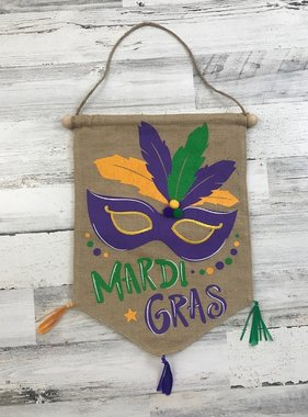 Mardi Gras Mask Door Hanger with Pom Poms