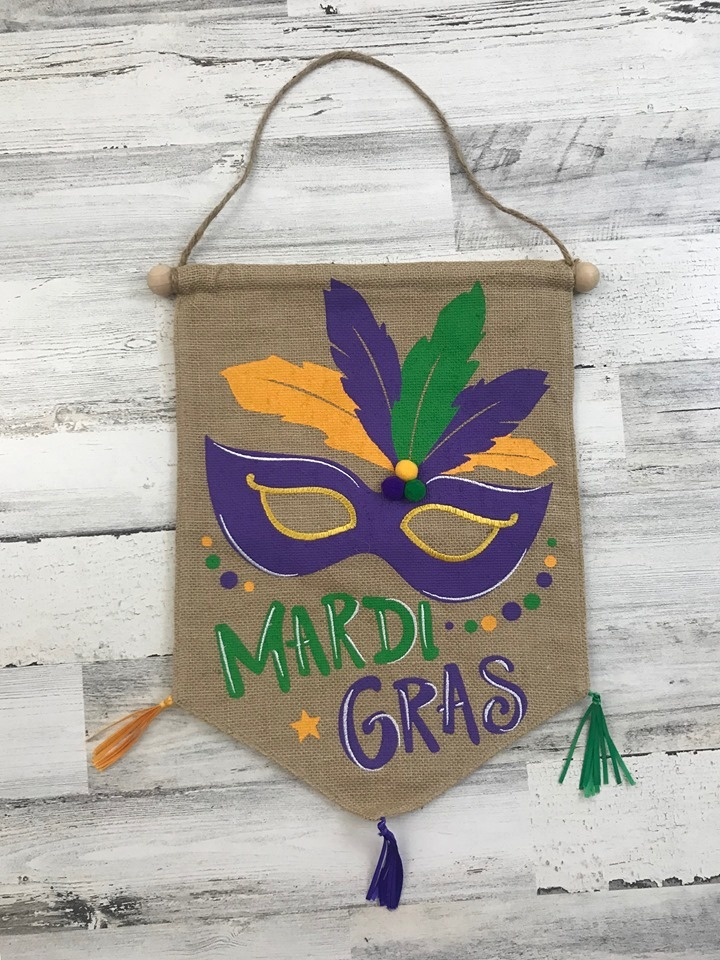 Mardi Gras Mask Door Hanger with Pom Poms