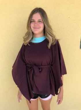 Knitted Poncho, Burgundy