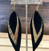 Black & Gold Leather Feather Earrings