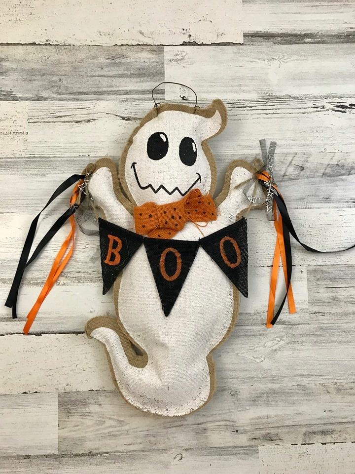 Ghost Boo Burlap Door Hanger