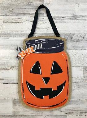 Jack-o-lantern Mason Jar Door Hanger