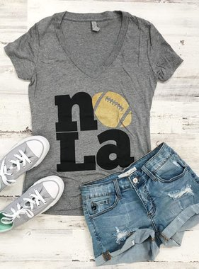 Fleurty Girl NOLA Love Football Tee