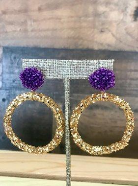 Gold Hoop with Purple Post Earrings