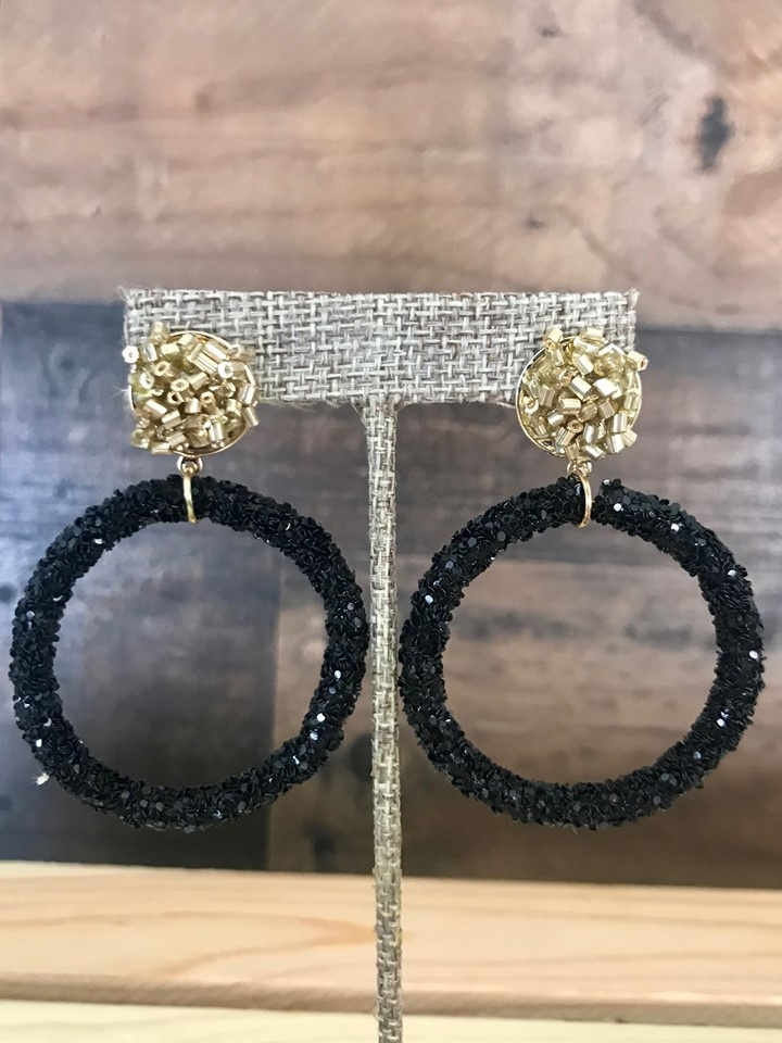 Black Hoop with Gold Post Earrings