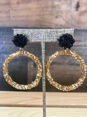 Gold Hoop with Black Post Earrings