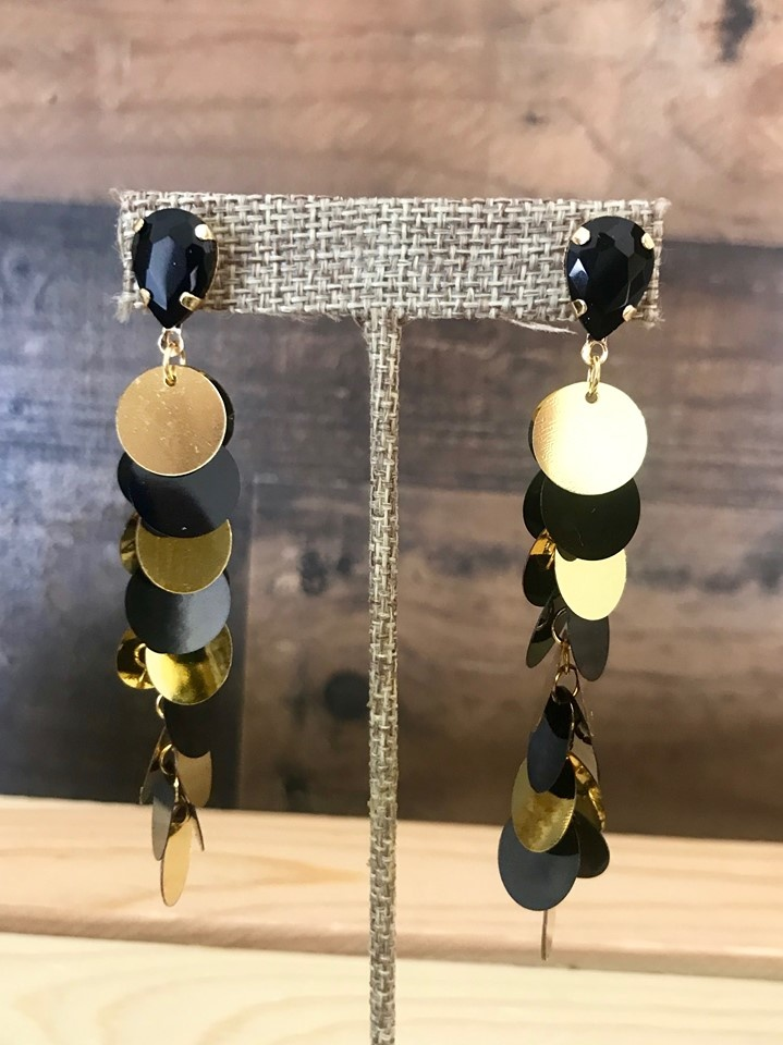 Black and Gold Sequin Dangle Earrings
