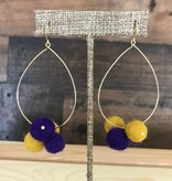 Purple & Gold Pompom Hoop Earrings