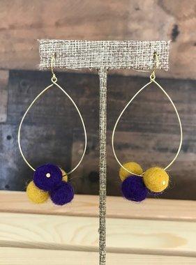 Purple & Gold Pompom Hoop Earrings