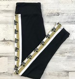Black & Gold Fleur de Lis Stripe Leggings