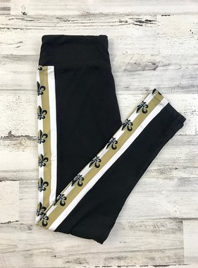 Black & Gold Fleur de Lis Stripe Leggings