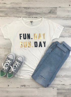 Fun. Day, Sun. Day Tee, White
