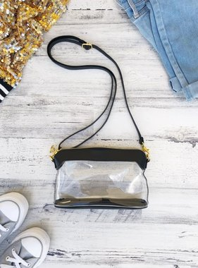 Black Clear Vinyl Stadium Purse