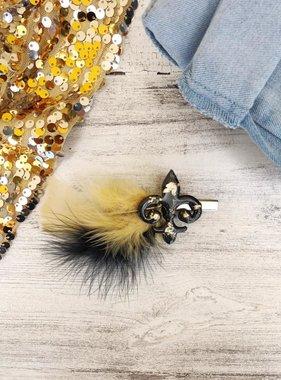 Black & Gold Fleur de Lis Feather Clip