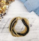 Black & Gold Beaded Multi Strand Bracelet
