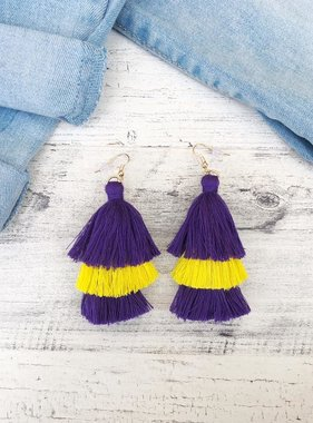 Purple & Gold Triple Tassel Earrings