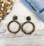 Black & Gold Hoop Post Earrings