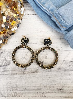 Black & Gold Hoop Post Earrings
