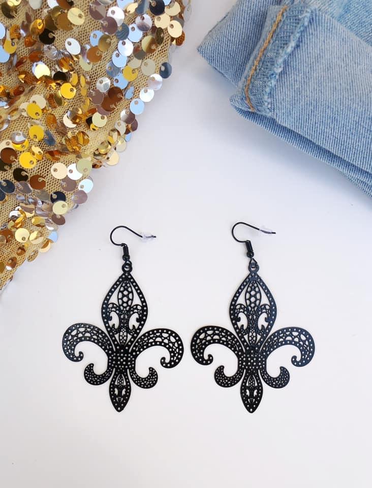 Thin Black Fleur de Lis Earring
