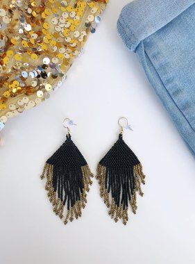 Black and Gold Fringe Earring