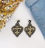 Black & Gold Beaded Fleur de Lis Earrings