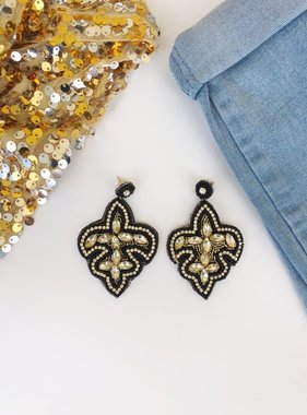 Black & Gold Beaded Fleur de Lis Earrings