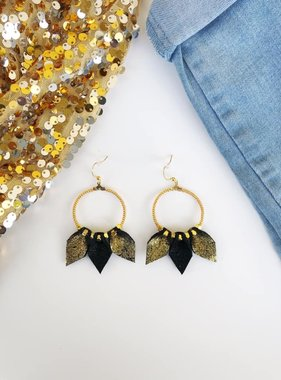 Black & Gold Leather Teardrop Hoops
