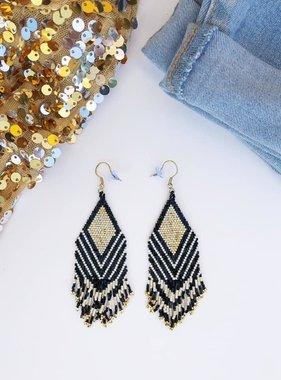 Diamond Beaded Fringe Earrings