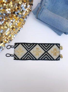 Black & Gold Cross button Beaded Bracelet