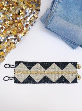 Black & Gold Diamond Beaded Button Bracelet