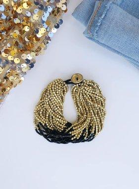 Chunky Black & Gold Beaded Multi-Strand Bracelet