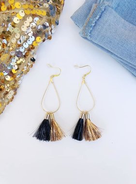 Black & Gold Tinsel Tassel Earrings
