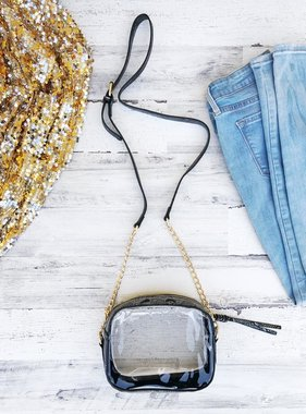 Clear Snakeskin Game Day Crossbody Bag