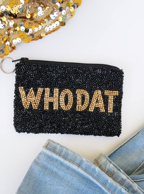 Who Dat Beaded Pouch, Black