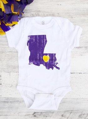 Louisiana Love Onesie, Purple & Gold