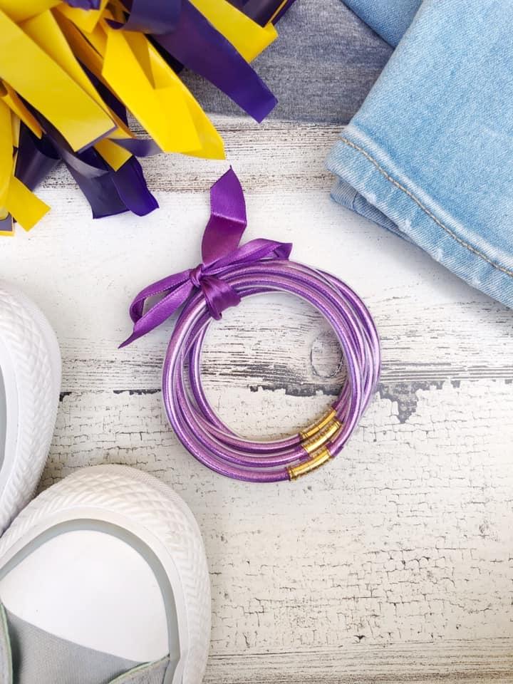 Purple & Gold Jelly Glitter Bracelet Set
